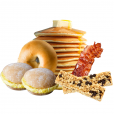 Breakfast box includes bacon, mini pancakes, syrup, plain bagels, cream cheese,  breakfast sandwiches, and breakfast bars